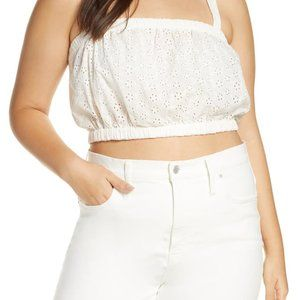 Madewell eyelet crop tank top white Brand new